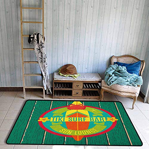 - Bedroom Rug,Tiki Bar Tiki Surf Bar Sun Lounge Holiday Vacation Theme Surfboard Crab Starfishes Print,Extra Large Rug,3'11