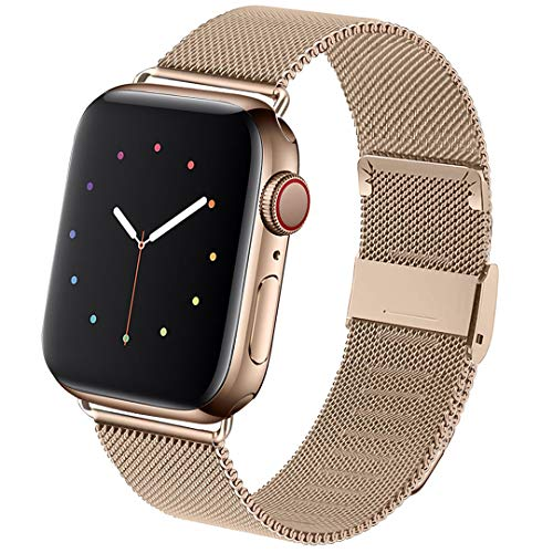 Hotflow Compatible with Apple Watch Band 38mm 40mm 42mm 44mm, Stainless Steel Loop Replacement Wristband for iWatch Series 5/4/3/2/1