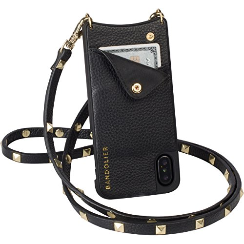 Bandolier [Sarah] Case for iPhone X - Black Genuine Leather Women's Wallet with Gold Metal Hardware Phone Case. Crossbody Strap Apple Device Mobile Cover for Cards. Cell Purse Carry Handsfree 2014-X