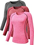 Neleus Women's 3 Pack Dry Fit Athletic Long Sleeve T Shirts,8021,Red,Grey,Pink,XL