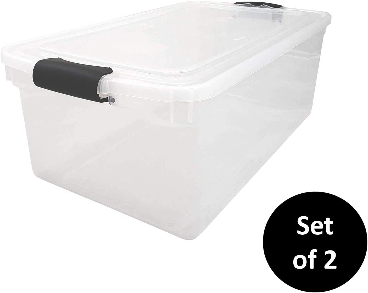 HOMZ 3442CLGRDC.02 Clear Storage Container with Lid, 66 Quart, Grey, 2 Pack