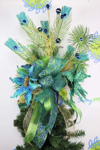 Green Peacock Tree Topper, Lime Green Blue Christmas Decorations, Glittered Holiday Decor, Unique Christmas Tree, Poinsettia, Feather - Glittered Poinsettia Wreath