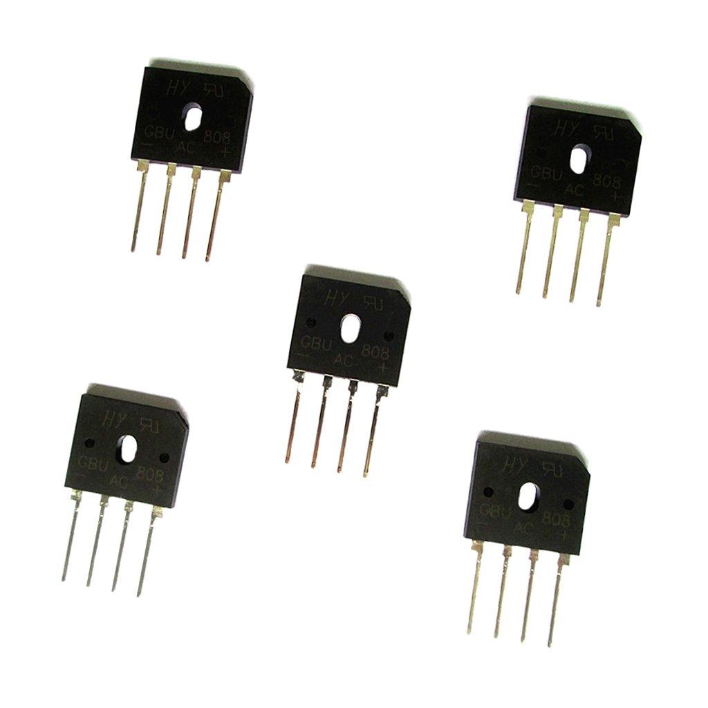 Sharplace 5 st/ücke Vollbr/ückengleichrichter Gbu806 600v 808 8A 600//800 V Einphasig 4 Bolzen