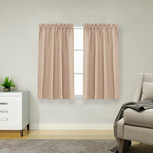 Waffle Woven Cafe Curtains Waterproof Kitchen Window Curtain Sets for Bathroom (72-by-45 Inch, Taupe, One Pair) (45 Panels Curtain Sheer)