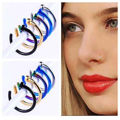5 Sets - Fake Nose 8mm Silver/Rainbow/Black/Blue/Gold Rings - Fake Lip Ring - 316L Stainless Steel - Eco Friendly - Fake Septum Medical Piercing Clip Jewelry Plus Bonus Gift