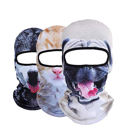 Pack of 3 Polyester Bandana Face for Out Riding Motorcycle - Animal Ski Mask Winter Motorcycle Neck Warmer Sun Balaclava Tactical Hood Helmet Grey ()