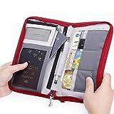 Passport Wallets for Women Men Cute Multiple Passport Cover Family Holder Travel Rfid Safe Zipper Document Organizer for Couples (Red)