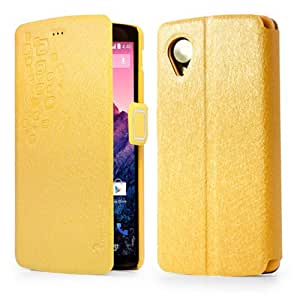 EVERGREENBUYING Case For LG Google Nexus 5 Slim Fit Thin Leather Wallet Card Pouch Stand Flip Cover Yellow