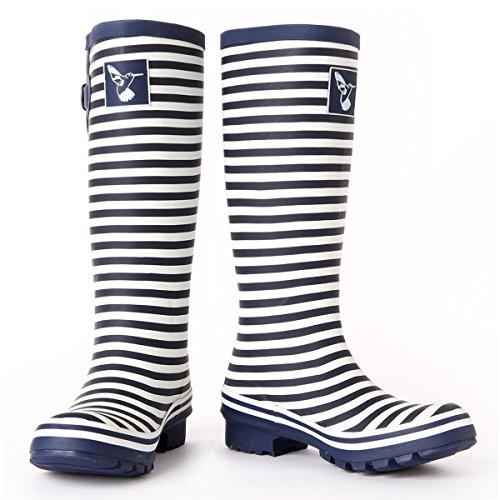 stripe Rain Brand Women's Evercreatures Blue Gumboots white Boot Wellies Rain Original Tall UK Boots wOSZSqxB