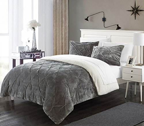Perfect Home 7 Piece Enzo Pinch Pleated Ruffled and Pintuck Sherpa Lined Queen Bed In a Bag Comforter Set Grey With White Sheets included