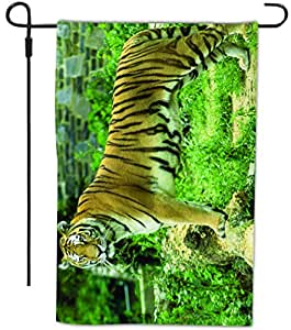 Rikki Knight Tiger on Dark Green Background Design Decorative House or Garden Full Bleed Flag, 12 by 18-Inch