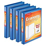 "Cardinal Economy 1"" Round-Ring Presentation View Binders, 3-Ring Binder, Holds 225 Sheets, Nonstick Poly Material, PVC-Free, Blue, 4-Pack (79511)"