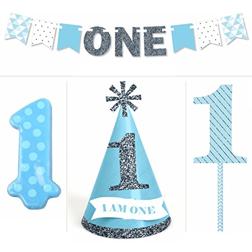 Glitter Dot Satin - 1st Birthday Boy - Smash Cake Kit - High Chair Decorations