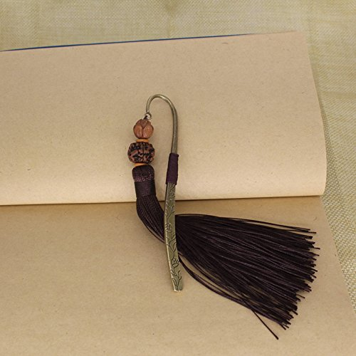 Comfspo Classic Beautiful Fancy Bookmark Stainless Steel Bodhi Seed Bookmark Metal With Fringe