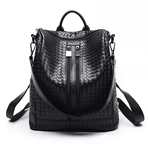 Unisex Classic Fashion Leather Backpack Shoulder Bag For Men and Women (Weave pattern - Luxury For List Men Items