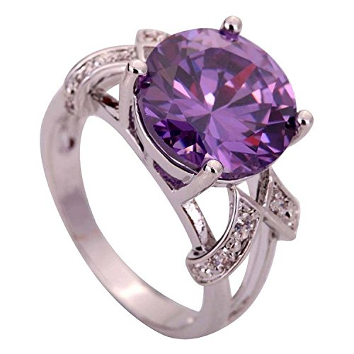 Psiroy 925 Sterling Silver Created Amethyst Filled Solitaire Promise Ring Size 8