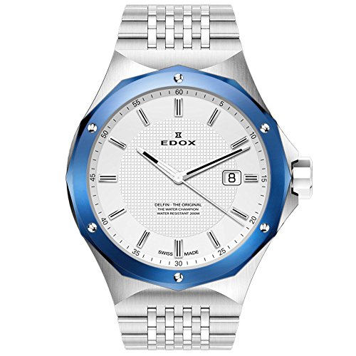 - Edox Men's 53005 3BUM AIN Delfin Analog Display Swiss Quartz Silver Watch