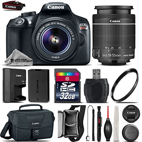 Canon EOS Rebel T6 DSLR Camera + 18-55mm IS II Lens + 32GB Class 10 Memory Card + Canon EOS Shoulder Bag 100ES + 58mm UV Filter + Card Reader + Lens Cap Holder – International Version