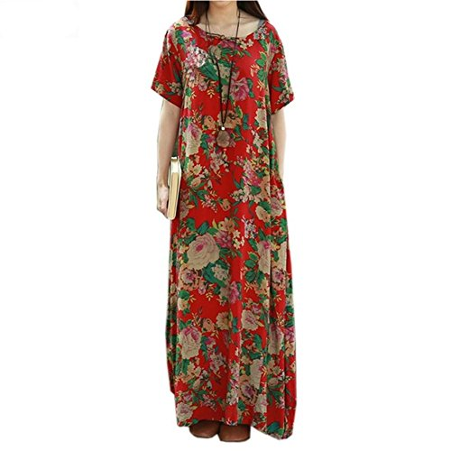 Neck Printed Dress Long Short Women Sleeve Round Summer Casual Red Maxi Floral YId5qIw