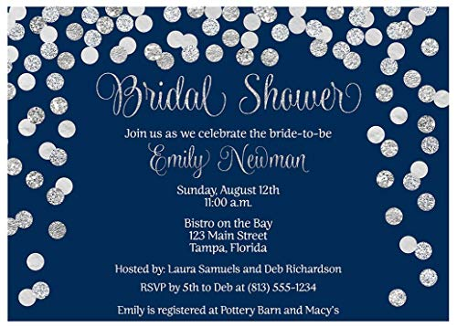 Brunch and Bubbly Bridal Shower Invitations Confetti Wedding Party Invites Brunch and Baby Sprinkle Rehearsal Dinner Customize Cards Champagne Silver Navy Blue Glitter (10 Count)