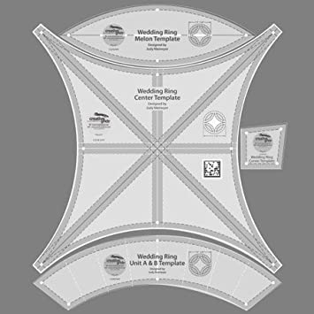 creative grids double wedding ring 1725 set of four quilting ruler templates cgrdwr - Double Wedding Ring Quilt Templates