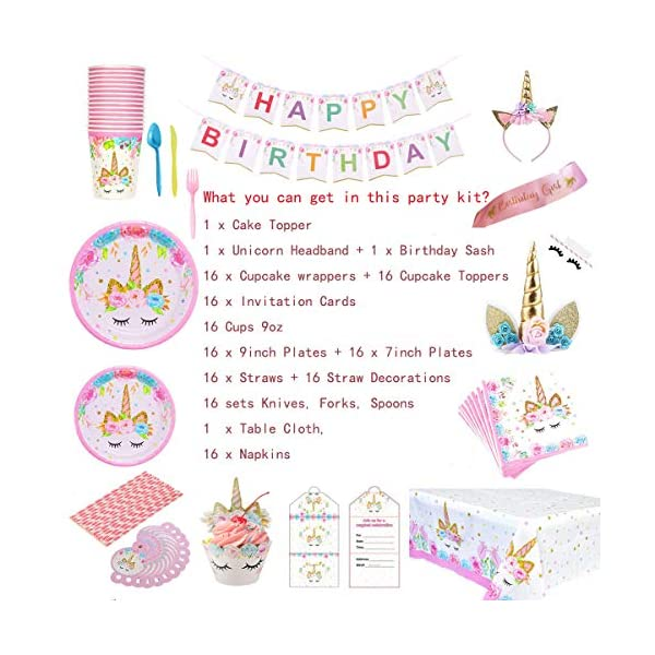 GONGYIHONG Unicorn Birthday Party Supplies Set, Serves 16, Colorful 4