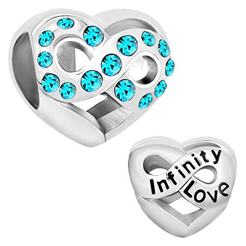 CharmsStory Infinity Love Heart Charms Sale Cheap Jewelry March Birthstone (Stone Charm Bead)