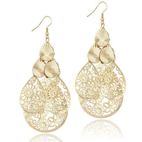 - 14K Gold Women's Filigree Chandelier Teardrop Tiered Earrings Hollow Cutout Drop Dangle Large Earring for Party Prom