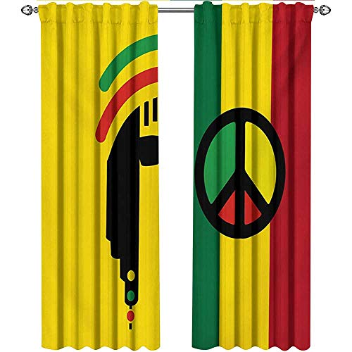 shenglv Rasta, Curtains Bathroom Window, Iconic Barret Reggae and Jamaican Music Culture with Peace Symbol and Borders, Curtains for Girls Bedroom, W72 x L96 Inch, Red Green Yellow