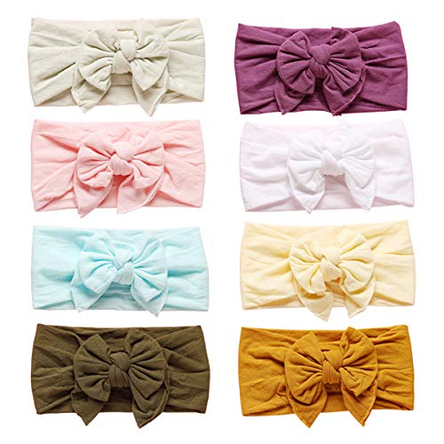 - Baby Girl Headbands and Bows CLASSIC Knot Nylon Headwrap Super Soft Stretchy Nylon Hair bands for Newborn Toddler, Children (Multicolor-MZ042)