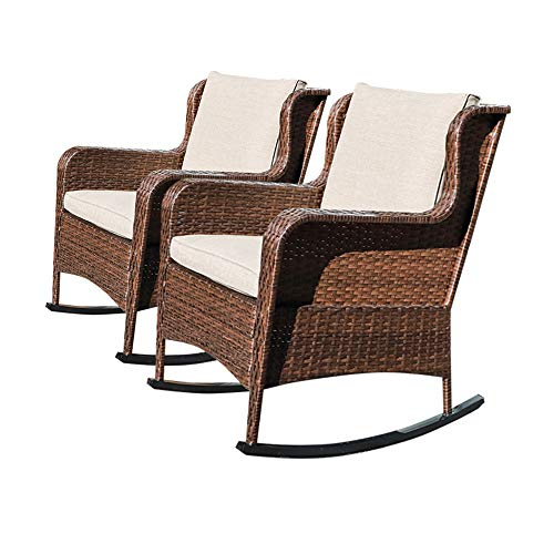 SUNSITT Outdoor Resin Wicker Rocking Chairs with Olefin Cushions, Set of 2, Patio Yard Furniture Club Rocker Chairs, Brown Wicker & Beige Cushions