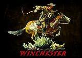 Rockin W Winchester Dark Horse and Rider Area Rug