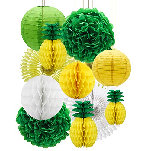 Tropical Party Decorations, Summer Party Honeycomb Pineapple Ball, Pom Poms Paper Flowers Tissue Paper Fan Paper Lanterns for Party Supplies Table Decoration Hawaiian Theme]()