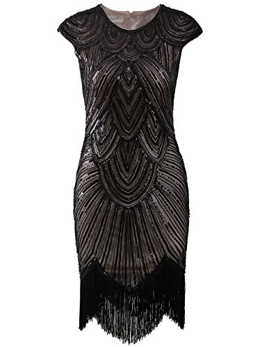 Vijiv Art Deco Great Gatsby Inspired Tassel Beaded 1920s Flapper Dress,X-Large,Dark Beige]()