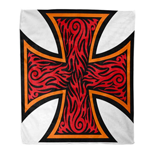 (Golee Throw Blanket Maltese Iron Cross in Tribal Tattoo Celtic Catholic Christian Angel 60x80 Inches Warm Fuzzy Soft Blanket for Bed Sofa)