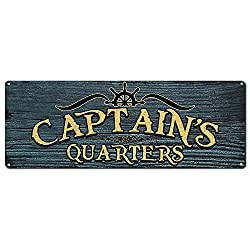 My Beer Cozy Captain's Quarters, 6 x 16 Inch Metal Sign, Boat, Ocean, Sea and Pirate Themed Decor, Gifts for Boaters, Sailors, Fishermen, RK1046ST 6x16