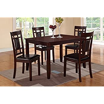 Poundex 5 Piece Rectangular Dining Set With Faux Leather Seat Cushion