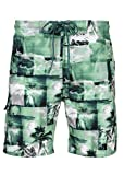 Laguna Mens Stretch Paradise Palm Boardshort Swim Trunks Bathing Suits Green Medium