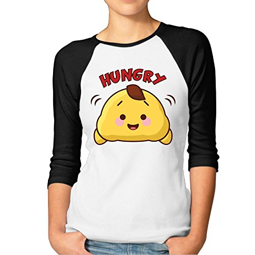 Hilary Womens Cartoon Hungry Baseball Raglan Jersey T Shirts 3 4 Sleeve Xl