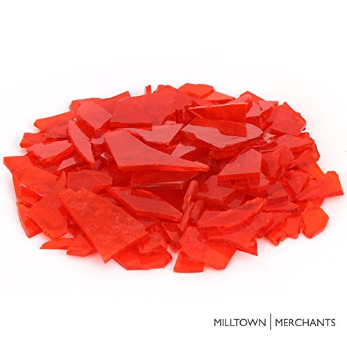 Milltown Merchants™ Orange Stained Glass Pieces 3 lb - Transparent Tangerine Stained Glass Cobbles - Broken Glass Chips for Stepping Stones and Crafts - Bright Color Glass Coblets