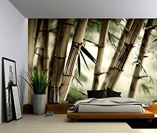 Picture Sensations Canvas Texture Wall Mural, Bamboo Tree, Self-adhesive Vinyl Wallpaper, Peel & Stick Fabric Wall Decal - 48x36