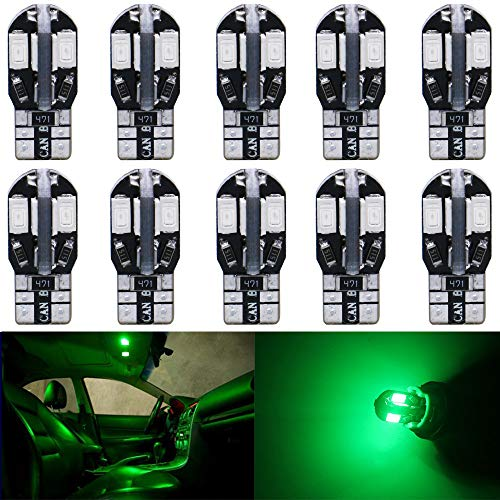(AMAZENAR 10-Pack T10 194 168 168 2825 Extremely Bright Green 200Lums Canbus Error Free 12V LED Light,8-SMD 5730 Chipsets Car Replacement Bulb for Map Dome Courtesy License Plate Side Marker Light )