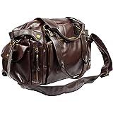 Chariot Trading - Fashion Hand bag PU Leather Gym Duffle Handbag Satchel Shoulder Travel Bag for men Dark Brown Black - CJ-BG-000630