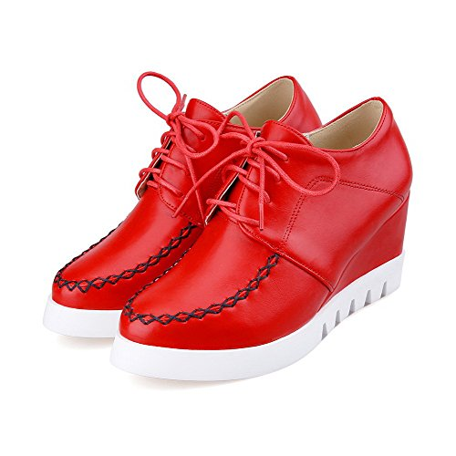 VogueZone009 Women's Lace up Pu Round Closed Toe High Heels Solid Pumps-Shoes Red rrhdkE