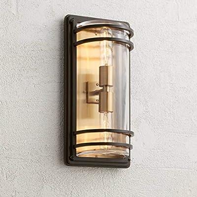 "Habitat Modern Outdoor Wall Sconce Fixture Bronze and Warm Brass 16"" Clear Glass for Exterior House Porch Patio Deck - John Timberland"