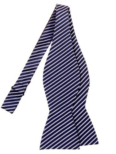 Retreez Modern Stripe Woven Microfiber Self Tie Bow Tie - Navy Blue with Silver Stripe (Tie Stripe Silver)