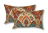 Resort Spa Home Decor Set of 2- Indoor/Outdoor- Rectangle/Lumbar Throw/Toss Pillow~Bohemian Retro Paisley~ Teal Red Orange ~ For Sale