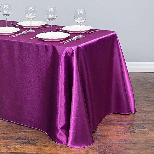90 x 132 in. Rectangular Satin Tablecloth Purple Wine