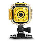 DROGRACE Children Kids Camera Waterproof Digital Video HD Action Camera 1080P Sports Camera Camcorder DV for Boys Girls Birthday Holiday Gift Learn Camera Toy 1.77'' LCD Screen (Yellow)