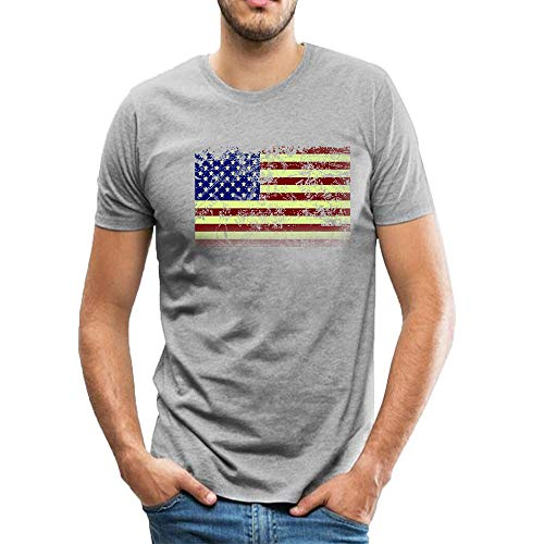 T-Shirt Vintage Distressed USA Flag Pattern Casual Short Sleeve Top Tees XL Gray ()